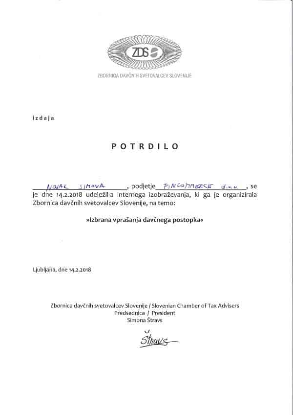 Fincommerce - Certifikat ZDS